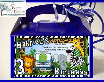 Pk 4 JUNGLE SAFARI BIRTHDAY Party Goody Box Loot Favors Personalized with your childs name etc.