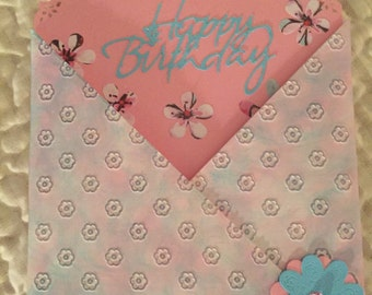 Cross-cut folded Happy Birthday card with insert.