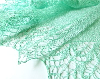 Mint Summer Linen Lace Shawl. Hand Knitted Shawl.  Made to order! Knitting Summer Shawl. Lace Scarf, Mint Green Shawl. Openwork Scarf