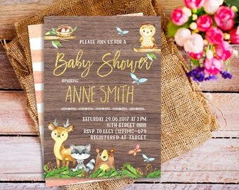 Rustic Woodland Baby Shower Invitation, Forest Friends Invitation, woodland animals invitations, Woodland Creatures Invitation, whimsical