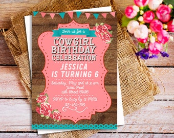 Vintage Cowgirl Birthday Invitation, Country Chic Birthday, Western Birthday Invitation, Cowgirl Birthday party Invitations, Cowgirl invites
