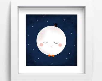 Moon Art, Printable Art, Moon Print, Moon Art Print, Moon Wall Art, Wall Prints, Nursery Decor, Babys Room Wall Art