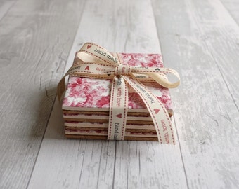 Vintage Floral Coasters - Set of Four - Ready to Ship