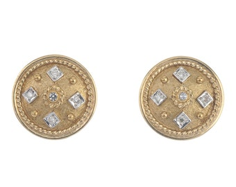 Vintage 9 Carat Yellow Gold & Diamond Earrings, Unique, Circular Shape, Uk Seller, FREE WORLDWIDE SHIPPING!