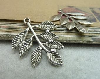 30 Branch Charms Antique Silver Tone Branch with Leaves