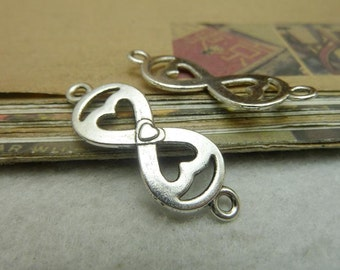 30 Heart Connector Charms Antique Silver Tone