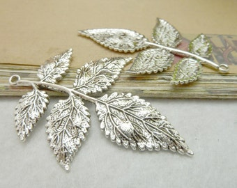 20 Large Maple Leaf Charms Antique Silver Tone