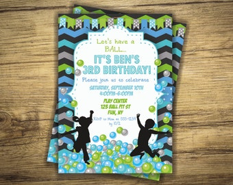 Ball Pit Birthday Party Invitation - Play Zone, Balls, Bounce House Boy Invite, First Birthday, 1st - Digital File, Printable
