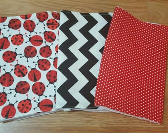 SALE!! Lady Bug Burpcloths- baby shower gift, baby girl, burp rag, red and black