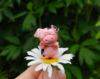 Sale miniature polymer clay pig baby pig in a tub handmade tiny figurine pig figurine clay pig miniature
