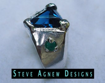 London Blue Topaz and Emerald Ring
