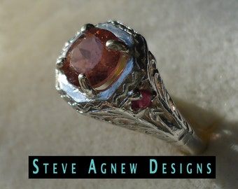 Pink Tourmaline and Ruby Ring