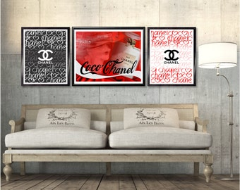 Chanel, Chanel Prints, Fashion Wall Art, Printable, Set Of 3 Chanel,  Wall Art,  Home Decor, Chanel Art Print, Gift, Coca Cola, Chanel Logo