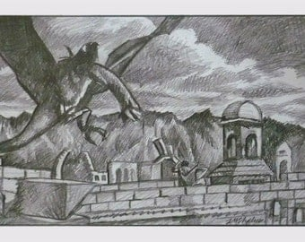 "LotR Witch King and Frodo 10""x5"" pencil on bristol paper movie art L M Stephens"