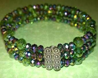 3-layer greens & purples Swarovski beaded bracelet