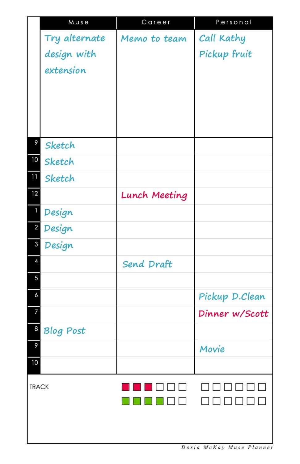 Daily View Insert for Muse Planner Journal Diary Notebook Calendar – Diary Paper Printable