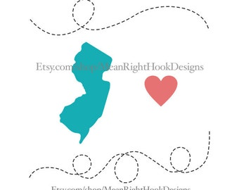 New Jersey SVG, state svg, silhouette, heart svg, and dotted lines INSTANT DOWNLOAD vector files for cutting machines - svg, png, dxf, eps