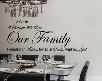 Our Family: A Circle of Strength and Love Wall Quote, Vinyl Decal Sticker, Kitchen Wall Vinyl decal, Dining Room Wall vinyl decal Sticker