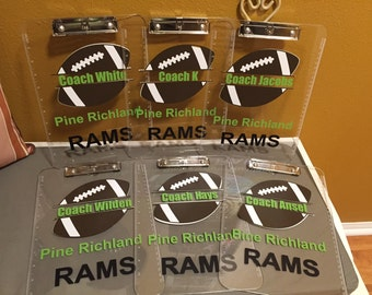 MULTIPLE Football Coach gift personalized football Clipboard with name, Coach gift, custom clear or storage clipboards