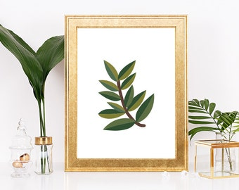 Leaf Print, Nature, Nature Print, Botanical Print, Tropical Leaf, Leaf Decor, Tropical Wall Art, Tropical Decor, Leaf Art, Leaf Branch Art