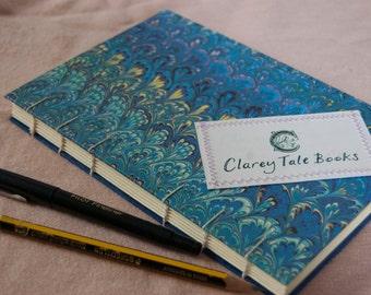 Marble Paper Notebook Coptic Stitch Hardback Handmade Cream Paper 20 x 13 cm Journal