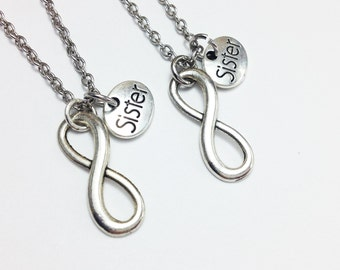 set of 2 infinity sister necklace - sister necklace - sister forever - friendship necklace - sister gift - birthday - Christmas gift