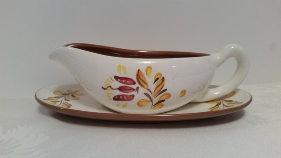 Stangl Provincial Gravy Boat with Underplate #3966