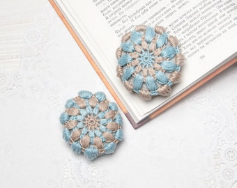 Blue Beige Crochet Covered Stone, Lace Stone, Paperweight, Home Decor, Beach Wedding, Set of 2