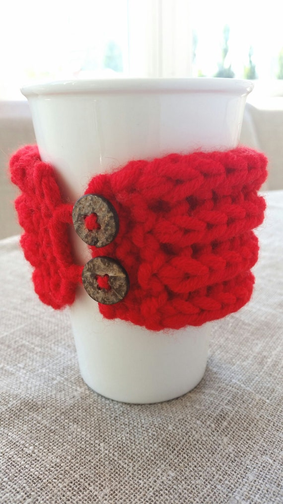 Christmas gift, Knitted red cup cozy, coffee cup cozy, mug cozy, cup cozy, coffee cup sleeve, gift ideas
