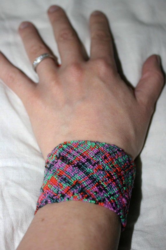 Multicolur, 100% cotton, hand-knitted, ethnic, boho, statement bracelet