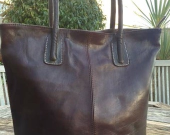 Quality Moroccan leather tote bag in Dark brown