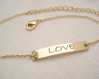 Personalized Bracelet...Engraved gold Bar, custom jewelry, sorority, best friend gift, wedding, bridesmaid gift, Coordinates