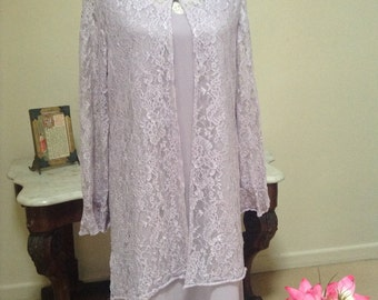 Mother Of The Bride Outfit/Pale Lavendar/Size 16/ Relaxed Fit