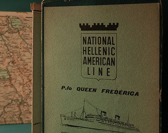 Vintage Italy map, National Hellenic American Line, Queen Frederica