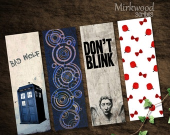 Doctor Who Printable Bookmarks  |  Bad Wolf, Don't Blink, Fezzes and Bow Ties are COOL  |  Instant Download  |  Geek Gift
