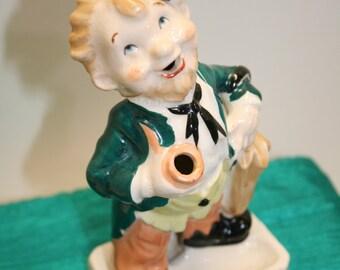 Vintage smoking Irishman ashtray; tobacciana; Irish pipe smoker chimney and ashtray; made in Japan Irish smoking leprechaun
