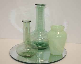 Set of 3 vintage vases; blown glass vases; green glass vases; bud vases; small glass vases; centerpiece; table decor