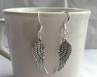 Silver large angel wing earrings ( guardian angel)