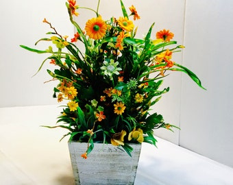 Orange/Yellow Silk flowers in white washed box