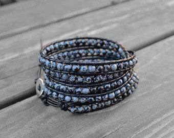 Leather Bracelet Charm Wrap Bracelet Beaded Bracelet Leather Wrap Bracelet 4mm Beaded Bracelet with Black Leather Cord