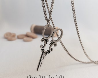 Antique Silver Scissors necklace - Antique Gold - Hair Dresser - Hair Stylist - Sewing Necklace - Original Gift  - Antique silver necklace.