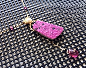 Pink Quartz and Black Spinel Beaded Chain Necklace with Pink Cobalto Calcite and Pink Tourmaline Pendant