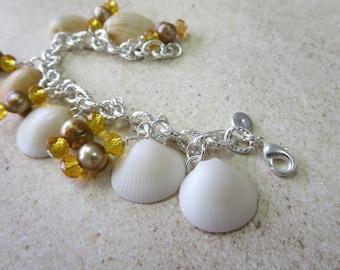 Little Orange Shell Charm Bracelet