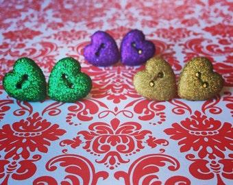 Glitter Heart Stud Earrings - Heart Earrings - Glitter Earrings - Button Earrings