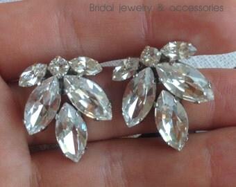 Bridal Stud Earrings Swarovski Crystal Earrings White Crystal Silver 925 Stud Swarovski Cluster Bridesmaids Swarovski Earrings