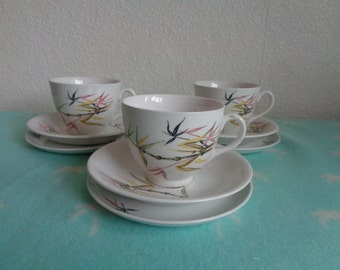 Vintage 1950'S Bamboo pattern retro part tea set.