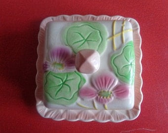 Vintage Art Deco 1930's  Avonware butter/cheese dish  and cover with embossed flowers. Kitchenalia