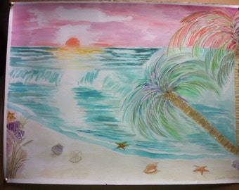 Original Water-Color Beach Scene/Palm Trees/Beach