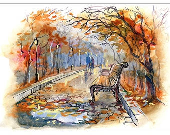PS0312 Poster Print Watercolor illustration ROMANCE Autumn Park Walk ART
