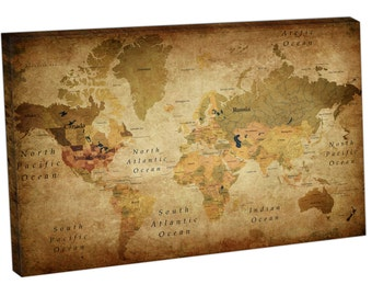 60165 Print On Canvas World MAP countries VINTAGE